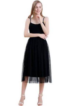 Vero Viva Women Spaghetti Strap Double Layered Tulle Midi Dress High Waist Solid